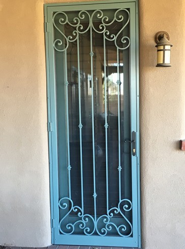 Security screen door with Slimline lock, Forged scrolls top and bottom and Knuckles design