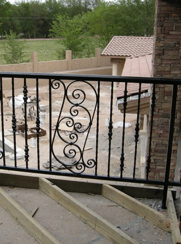 Balcony railing with Forged pickets and Scrolls