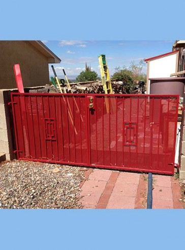 Pr. of gates with Contemporary design and perforated metal