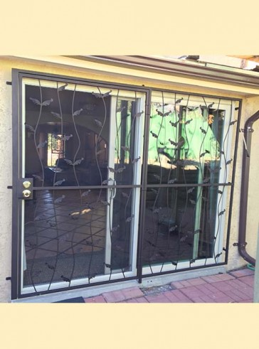 8' wide patio door with wavy leaf design