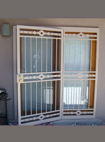 Security pre-hung screen door with sidelight in High Desert design