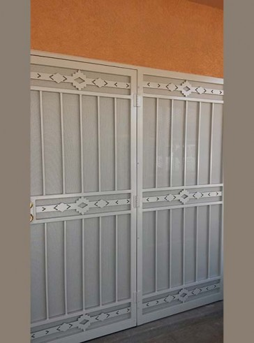 Security door with stationary panel in High Desert design with perforated metal