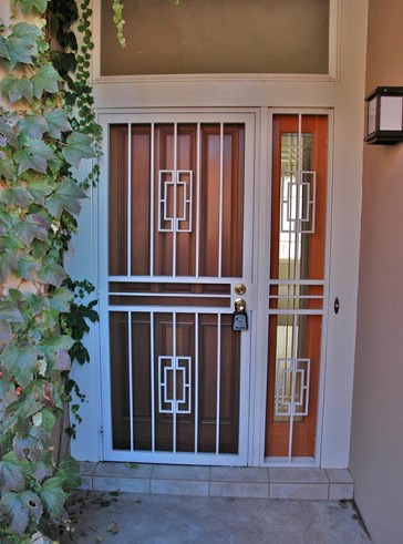 Security pre-hung screen door with sidelights in Contemporary design