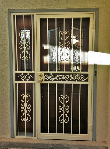 Security pre-hung screen door with Heritage and center scroll design and sidelight