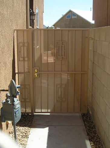Gate and Stationary panel with Contemporary design and perforated metal