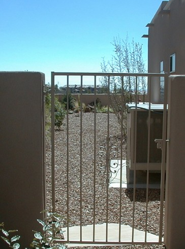 Gate with Sundance design and slidebolt latch