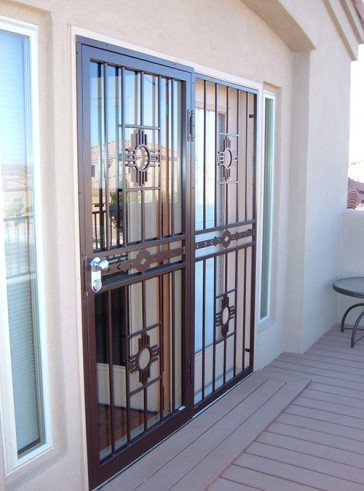 Security storm door and Stationary panel in Zia with High Desert center design