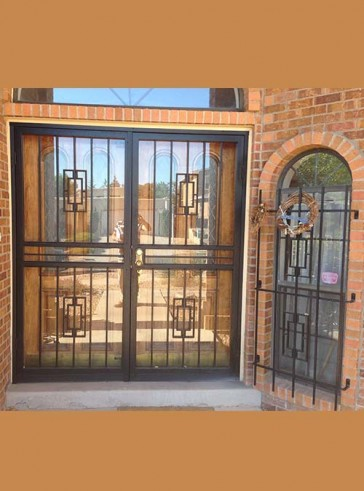 Pair of security storm doors in contemporary design