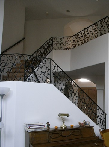 Interior railing with Forged Scrolls design