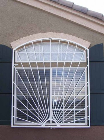 Arched window grill in Sunray design