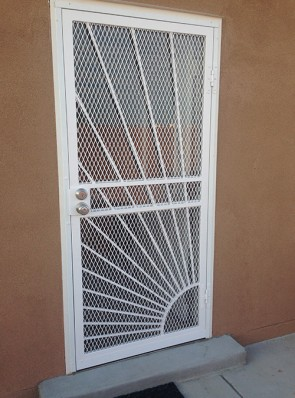 """Security screen door with 3/4"""" expanded metal and Sunray design"""