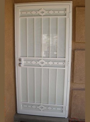 Security pre-hung door in High Desert design and perforated metal