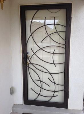 Security storm door in radius bar design