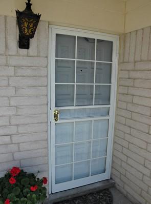 Security storm door in Divided light design