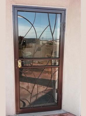 Security storm door in bare branches design