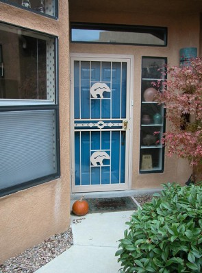 Security Storm Door with high desert in center and zuni bears
