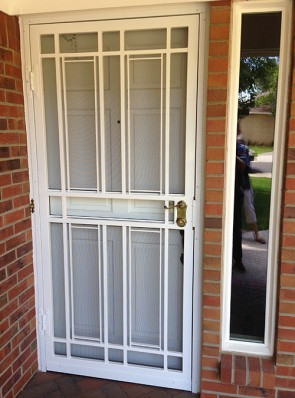 Security storm door in simple Shadow Box design