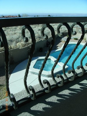 Curved balcony railing with S Scrolls