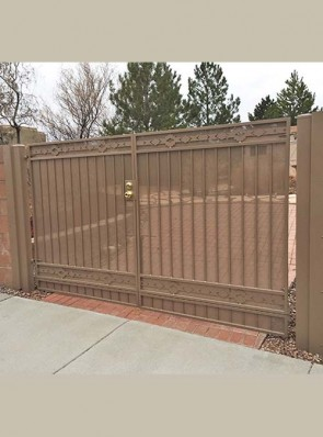 Pr. of gates with High Desert design and perforated metal