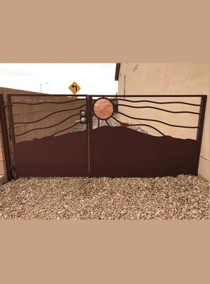 Gate and Fence panel with Windblown Copper Sun design and Mountain bottom
