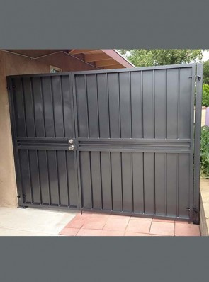 Offset center double gates with solid metal on back