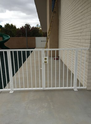 Double gates with deadbolt and knob