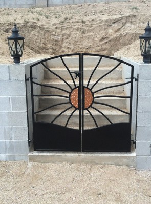 Double gates in copper sun design