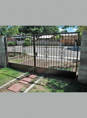 """Pair of gates with solid metal panel on bottom, 3/4"""" expanded metal in caprice design"""