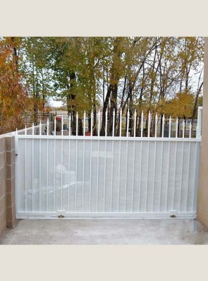 Sliding gate with arched spears and perforated metal