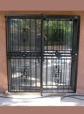Sliding type patio door with hook lock Contemporary design and High Desert design in center