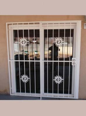 Patio door with Swirl Sun design