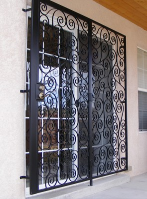 Patio door with S scroll design