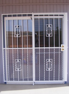 "Patio door with Contemporary design and 3/4"" expanded metal on bottom"