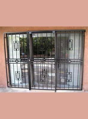 3 panel Sliding patio door with hook lock, Contemporary design and High Desert design in center