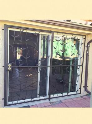 8' wide patio door with wavy leaf design