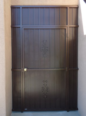 Porch enclosure with Seville design and perforated metal