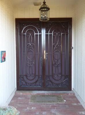 Pair of  custom security screen doors in Kingsbury design (a2)