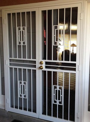 Pair of security pre hung screen doors in contemporary design
