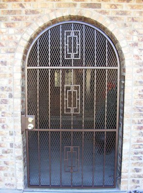 """Arched entry gate with 3/4"""" expanded metal and Contemporary design"""