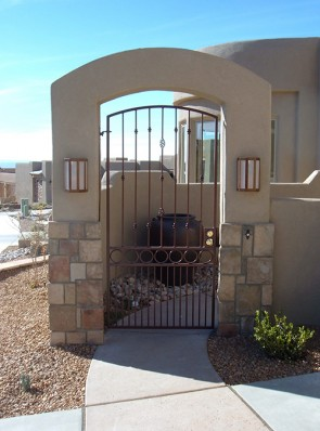 Arched gate with Knuckles, Baskets, Circles and doggie pickets