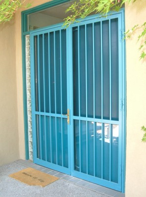 Pr. of 8' high Security storm doors with Slimline lock and no design