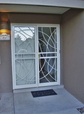 Pair of security storm doors in freeform design