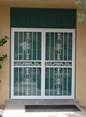 Pair of security storm doors in Regency design
