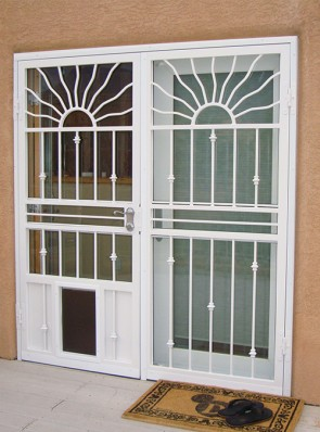 Pair of security storm doors with Wavy Sun on top and Knuckles design with pet door