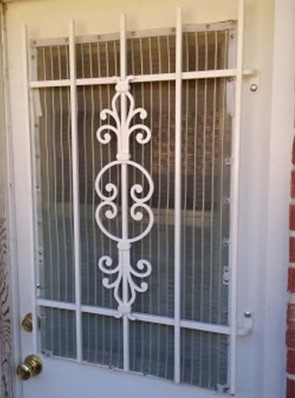 Security grill for door with glass on top in Caprice design