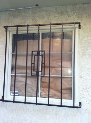 Window grill with crossbar at end in Contemporary design