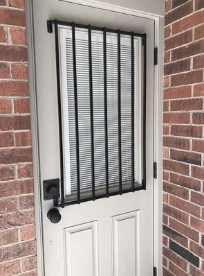 Security grill for door with upper glass