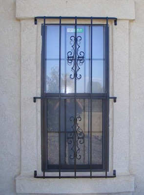 Window grill with crossbars at ends in Seville design