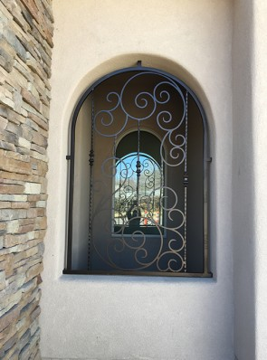 Custom Scroll design window grill with forged pickets