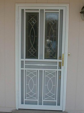 Custom Security storm door in white